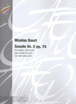 Sonate n° 2 op. 75 Nicolas Bacri Partition Violon - laflutedepan