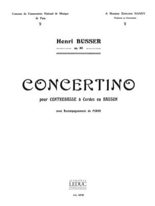 Concertino op. 80 Henri Busser Partition Contrebasse - laflutedepan
