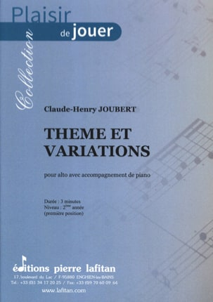 Claude-Henry Joubert - Theme and variations - Alto - Sheet Music - di-arezzo.co.uk