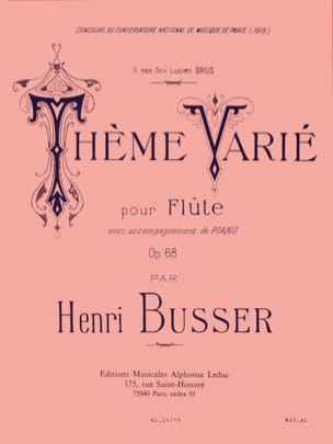 Henri Busser - Tema variado op. 68 - Partition - di-arezzo.es