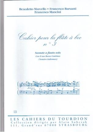 Cahier N°3 Sonates Italiennes Partition Flûte à bec - laflutedepan