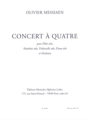 Olivier Messiaen - Concert à quatre - Partition - di-arezzo.fr
