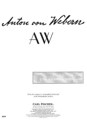 Anton Webern - Rondo 1906 - Sheet Music - di-arezzo.co.uk