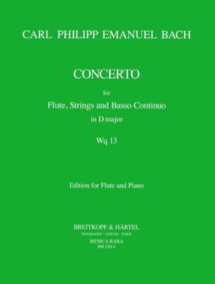 Carl Philipp Emanuel Bach - Concerto D Major Wq 13 - Flute Piano - Partition - di-arezzo.fr
