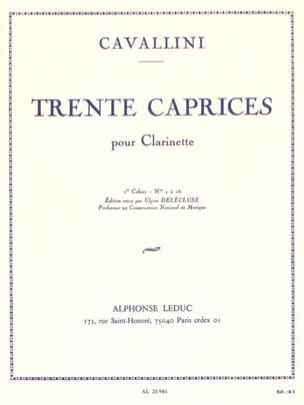 Ernesto Cavallini - 30 Caprices Volume 1 - Clarinet - Sheet Music - di-arezzo.co.uk