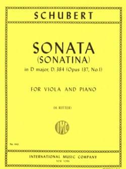 Sonatina n° 1 op. 137 - D. 384 SCHUBERT Partition Alto - laflutedepan