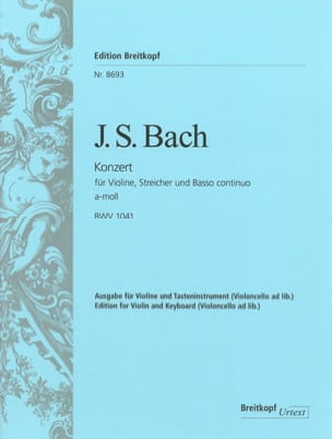 Concerto Violon la mineur BWV 1041 BACH Partition laflutedepan