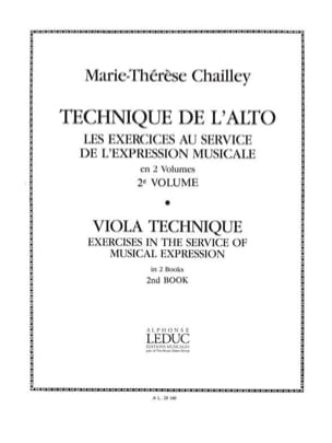 Marie-Thérèse Chailley - Technique de l'alto - Volume 2 - Partition - di-arezzo.fr