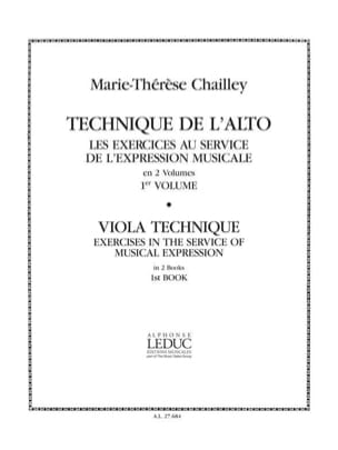 Technique de l'alto - Volume 1 Marie-Thérèse Chailley laflutedepan
