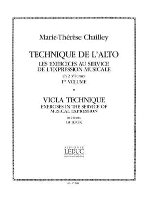 Marie-Thérèse Chailley - Técnica Viola - Volumen 1 - Partitura - di-arezzo.es