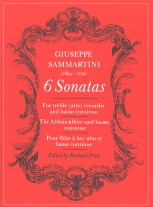 SAMMARTINI - Six Sonatas for Alto Treble Recorder and BC - Sheet Music - di-arezzo.co.uk