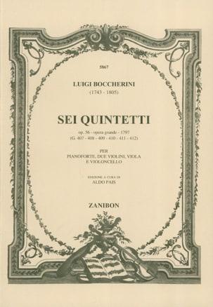 Sei Quintetti Op. 56 G. 407-412 Piano Conducteur - laflutedepan.com