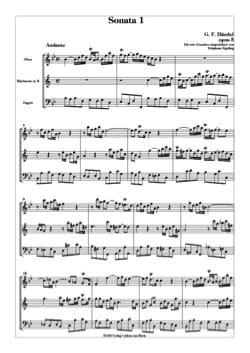 Georg Friedrich Haendel - Sonata n° 1 op. 5 – 2 Oboen Englischhorn - Partitur + Stimmen - Partition - di-arezzo.fr