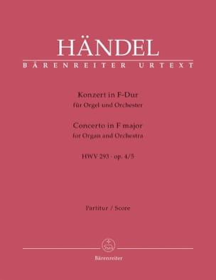 Georg Friedrich Haendel - Konzert Nr. 5 In F-Dur Hwv 293 Op. 4/5 - Partition - di-arezzo.fr