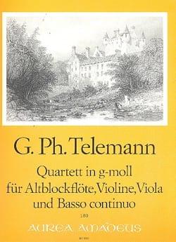 Georg Philipp Telemann - Quartett g-moll – Altblockflöte Violine Viola Bc - Partition - di-arezzo.fr