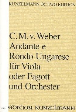 Carl Maria von Weber - Andante e Rondo Ungarese für Viola oder Fagott und Orchester - Partition - di-arezzo.fr