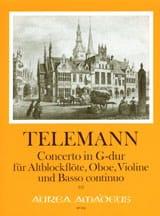 TELEMANN - Concerto in G-Dur TWV 43 : G6 -Altblockflöte Oboe Violine BC - Partition - di-arezzo.fr