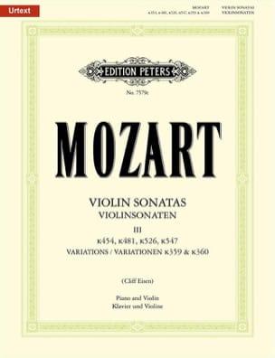Wolfgang Amadeus Mozart - Violin Sonatas Vol.3 - Partition - di-arezzo.fr