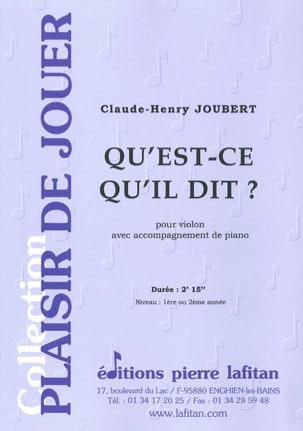 Claude-Henry Joubert - Que es lo que dice ? - Partitura - di-arezzo.es