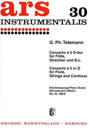 Konzert A 5 D-Dur - Flöte, Str., Bc - TELEMANN - laflutedepan.com