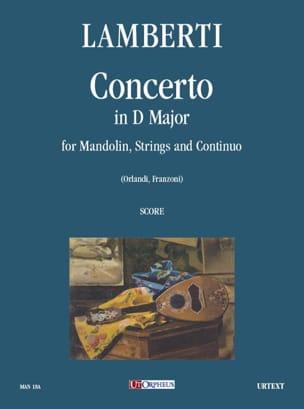 Concerto En Ré Maj. Pour Mandoline Cordes et Bc - laflutedepan.com