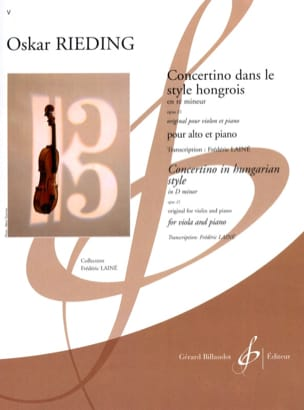Oscar Rieding - Concertino in the Hungarian style op. 21 in D minor - Sheet Music - di-arezzo.co.uk