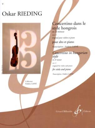 Oscar Rieding - Concertino dans le style hongrois op. 21 en ré mineur - Partition - di-arezzo.fr