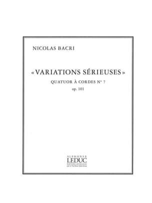 Nicolas Bacri - Variations sérieuses op. 101 - parties + partition - Partition - di-arezzo.fr