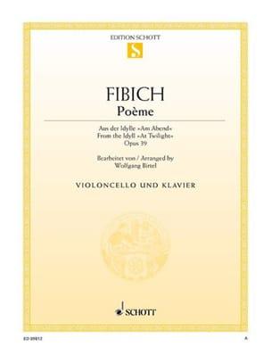 Poème Op.39 Zdenko Fibich Partition Violoncelle - laflutedepan