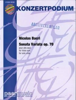 Sonata Variata op. 70 Nicolas Bacri Partition Alto - laflutedepan