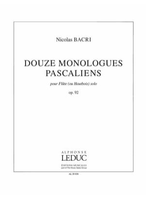 Nicolas Bacri - 12 Pascalian Monologues Opus 92 - Sheet Music - di-arezzo.co.uk