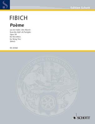 Poème Op.39 trio Zdenek Fibich Partition Trios - laflutedepan