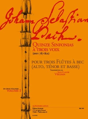 Quinze Sinfonias A Trois 3 Volume 1 Bwv 787-801 BACH laflutedepan