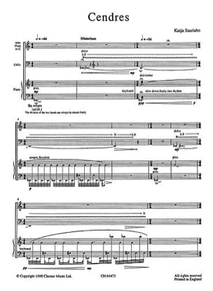Kaija Saariaho - Cendres - Score & Parts - Partition - di-arezzo.fr