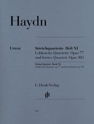 HAYDN - String quartets volume XI op. 77 and op. 103 (Lobkowitz Quartuors and last qu - Sheet Music - di-arezzo.co.uk