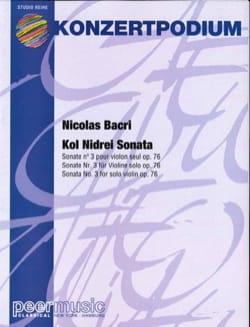Nicolas Bacri - Kol Nidrei Sonata - Partition - di-arezzo.fr