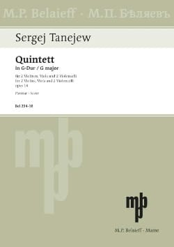 Quintette En Sol Maj. Op.14 - Serge Taneieff - laflutedepan.com