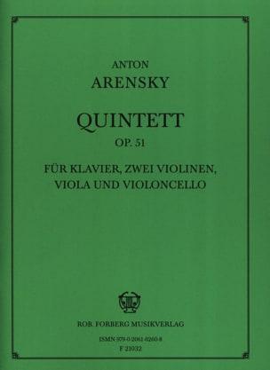 Quintette Op. 51 Anton Stepanovitch Arensky Partition laflutedepan