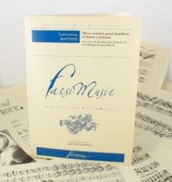 Carl Ludwig Matthes - 2 Sonates Pour Hautbois et Basse Continue - Partition - di-arezzo.fr