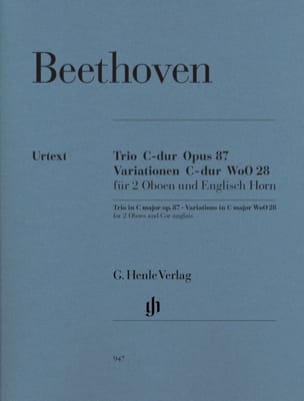 BEETHOVEN - Trio en Ut majeur op. 87 · Variations en Ut majeur WoO 28 - Partition - di-arezzo.fr