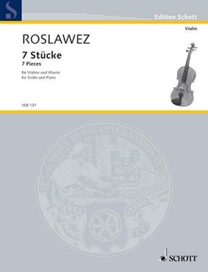 7 Stücke Nikolai Roslawez Partition Violon - laflutedepan