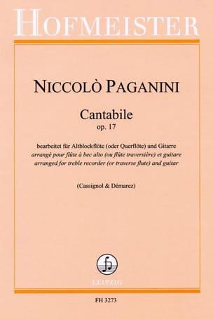 Cantabile Op.17 PAGANINI Partition Duos - laflutedepan