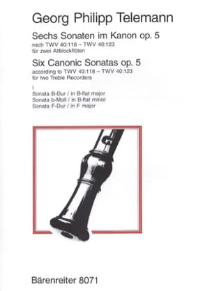 TELEMANN - 6 Sonatas in Canon Op. 5 Vol 1 - Sheet Music - di-arezzo.com