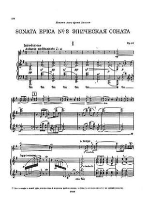 Nicolai Medtner - Sonata Epica Op. 57 N ° 3 - Sheet Music - di-arezzo.com