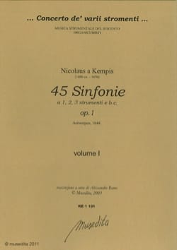 Kempis Nikolaus A - Symphoniae Opus 1 Vol 1 - Partition - di-arezzo.fr