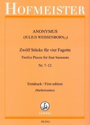 - 12 Pieces For 4 Bassoons N ° 7-12 - Sheet Music - di-arezzo.com