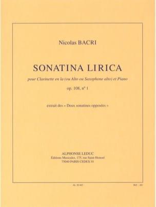 Sonatina Lirica Op.108 N°1 Nicolas Bacri Partition laflutedepan