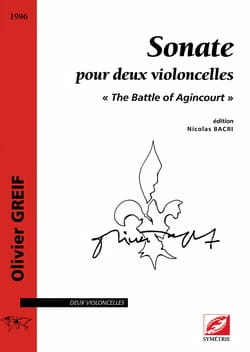 Olivier Greif - Sonate pour 2 Violoncelles - Partition - di-arezzo.fr