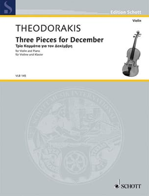Mikis Theodorakis - Three Pieces For December - Partition - di-arezzo.fr
