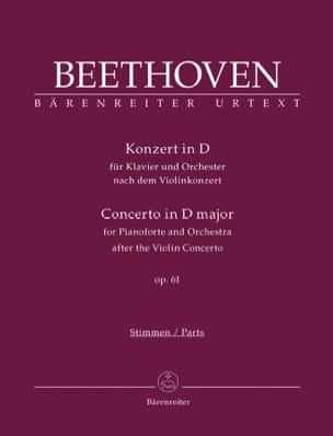Ludwig van Beethoven - Concerto en Ré M. pour Piano et Orchestre Op. 61 - Partition - di-arezzo.fr